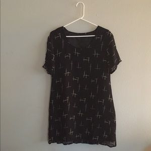 Sheer black graphic hex Dress